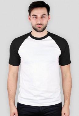 Koszulka męska z kolorowymi rękawami biało czarna