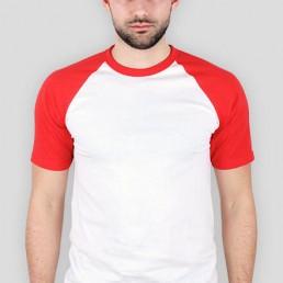Koszulka męska z kolorowymi rękawami biało czerwona