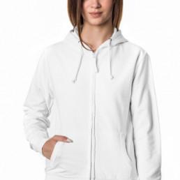 Bluza damska rozpinana z kapturem biała