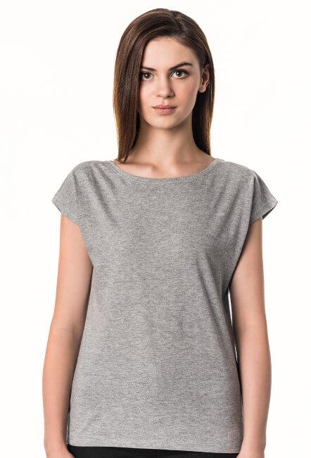 Koszulka damska z szerokim dekoltem szara