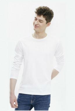 Męski longsleeve koszulka z długimi rękawami biała