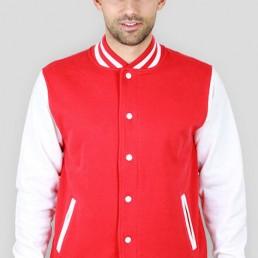 Bluza męska amerykańska College biało czerwona