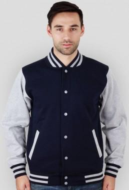 Bluza męska amerykańska College szaro niebieska