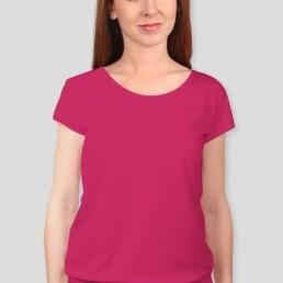 Koszulka damska z silikonowym wykończeniem czerwona