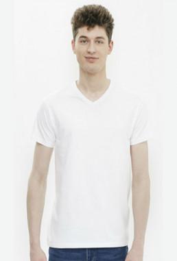 Koszulka męska w serek biała