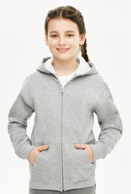 Bluza dziewczęca rozpinana z kapturem szara