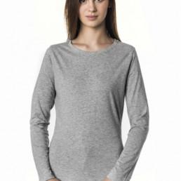 Koszulka damska z długim rękawem szara